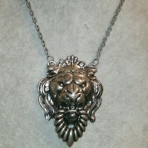 Napier Silver Lion's Head Statement Necklace